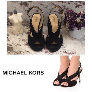 MICHAEL KORS | Becky black suede peep-toe heels